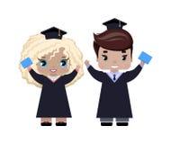 De jongen en het meisje behalen gelukkig, in graduatiekappen en toga's, met diploma's een diploma stock illustratie