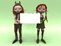 De jongen en het meisje die van het beeldverhaal een leeg teken houden Royalty-vrije Illustratie