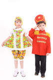 De jongen en het meisje in kostuums royalty-vrije stock foto's