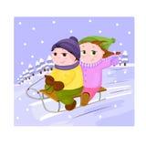 De jongen en het meisje sledding op de winterachtergrond royalty-vrije illustratie