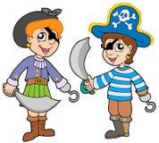 De jongen en het meisje van de piraat Stock Foto's