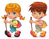 De jongen en het meisje van de trekking. vector illustratie