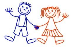 De jongen en het meisje van Lineart Royalty-vrije Stock Foto