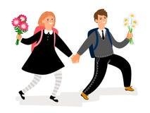 De jongen en het meisje van schoolkinderen met bloemen stock illustratie