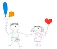 De jongen en het meisje zijn vrienden Stock Afbeeldingen