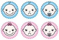 De jongen en het meisjes geplaatste pictogrammen van de baby Royalty-vrije Stock Afbeelding