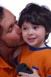 De jongen en hij is vader royalty-vrije stock foto