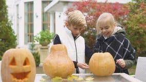 De jongen helpt meisje om pompoen hefboom-o-lantaarn, eerste liefde, weinig heer te snijden stock videobeelden