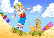 De jongen in het met een skateboard rijden Royalty-vrije Stock Afbeeldingen
