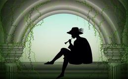 De jongen of de jonge mens in hoed zit dichtbij kolom en speelt trompet, speler romantische melodie, scène, schaduw, vector illustratie