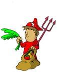 De jongen kleedde zich als duivel met natuurlijke voeding royalty-vrije illustratie