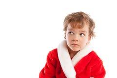 De jongen kleedde zich als Kerstman, isolatie Stock Foto