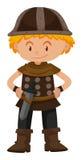 De jongen kleedde zich als militair van Viking royalty-vrije illustratie
