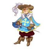 De jongen kleedde zich als musketier voor Kerstmis stock illustratie