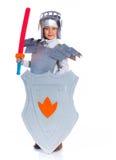 De jongen kleedde zich als Ridder royalty-vrije stock foto
