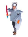 De jongen kleedde zich als Ridder stock afbeeldingen