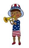 De jongen kleedde zich in Amerikaanse vlagstijl met trompet Stock Fotografie