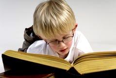 De jongen leest dikke boeken stock afbeeldingen