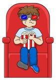 De jongen let op een 3D film in een bioskoop Stock Foto