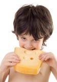 De jongen met een kaas stock afbeelding