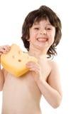 De jongen met een kaas stock afbeeldingen