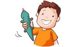 De jongen met rubbergekko Royalty-vrije Illustratie