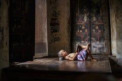 De jongen sliep royalty-vrije stock foto
