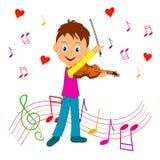 De jongen speelt de viool royalty-vrije illustratie