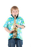 De jongen speelt een saxofoon Royalty-vrije Stock Foto