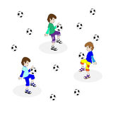De jongen speelt voetbal Royalty-vrije Stock Afbeelding