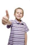 De jongen toont de duim Royalty-vrije Stock Fotografie