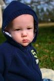 De jongen van de baby in blauw Stock Foto's