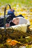 De jongen van de baby in de mand Stock Fotografie