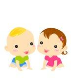 De jongen van de baby en babymeisje Royalty-vrije Stock Foto