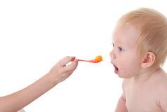 De jongen van de baby het openen mond voor voedsel Royalty-vrije Stock Foto