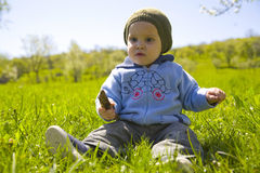 De jongen van de baby het spelen op gras Stock Fotografie