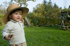 De jongen van de baby in hoed Stock Fotografie