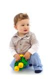 De jongen van de baby met stuk speelgoed Stock Foto