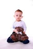 De jongen van de baby met teddybeer Royalty-vrije Stock Fotografie
