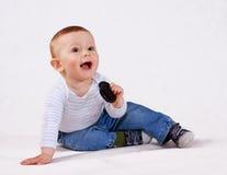 De jongen van de baby met teddybeer Royalty-vrije Stock Afbeelding