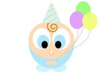 De jongen van de baby met verjaardagsballons stock foto's