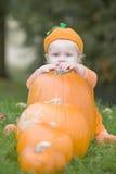 De jongen van de baby in pompoenkostuum met pompoenen Stock Foto's