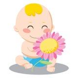 De Jongen van de Baby van de bloem Stock Foto