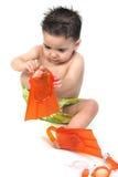 De Jongen van de baby in Zwempak en Vinnen Royalty-vrije Stock Afbeeldingen