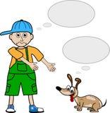 De jongen van de beeldverhaalstijl en zijn huisdierenhond vector illustratie