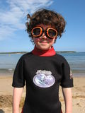 De Jongen van de beschermende bril Stock Afbeelding