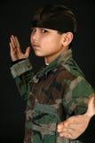 De Jongen van de camouflage Stock Fotografie