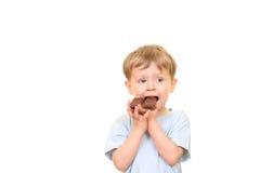 De jongen van de chocolade stock afbeelding