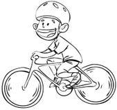 De jongen van de fiets in zwart-wit Royalty-vrije Stock Afbeeldingen