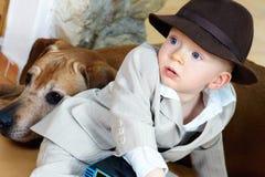 De jongen van de glimlachbaby Stock Foto